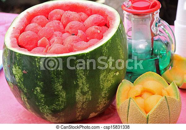 Sommer, getränk, aufgeschnitten, 2, wassermelone, party, melone ...