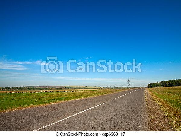 sommer, himmel, grumset, landskab, landlig vej - csp6363117