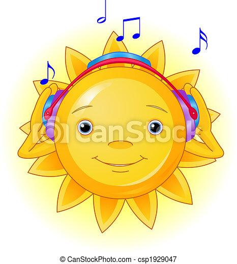 sommer, kopfhörer, sonne - csp1929047