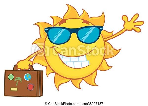 Lächelnde Sommersonne mit Sonnenbrille - csp38227187