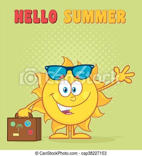 sommer, lächeln, zeichen, sonne - csp38227153