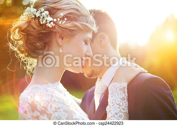 sommer, paar, wedding, wiese, junger - csp24422923