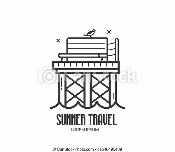 Sommer, reise, strand, logotype. Sommer, landungsbrücke, seagull ...