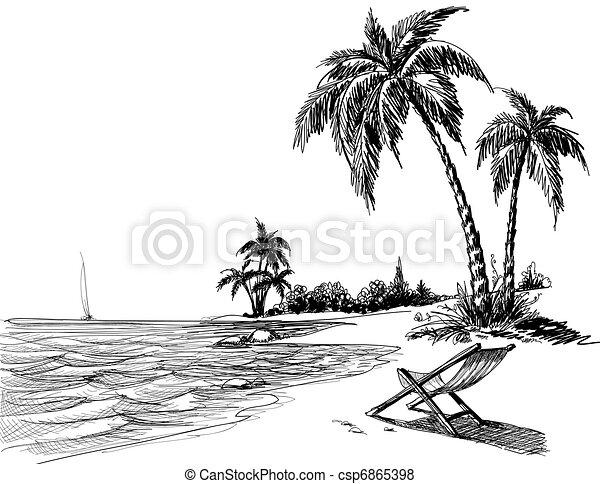 sommer, sandstrand, zeichnung, bleistift - csp6865398