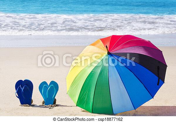 sommer, schirm, regenbogen, schnellen, hintergrund, pleiten - csp18877162