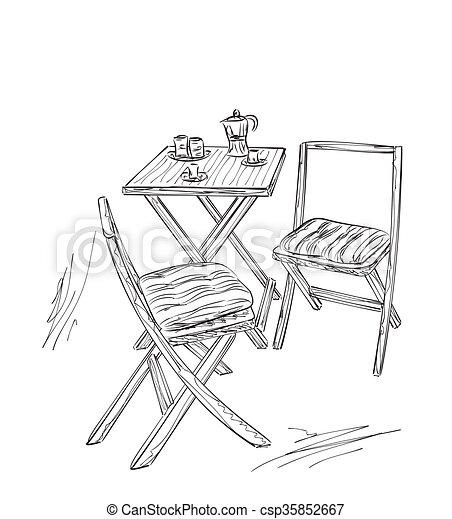 Tisch gezeichnet  Clipart Vektorbild von sommer, skizze, cafe., tisch, stuhl, möbel ...
