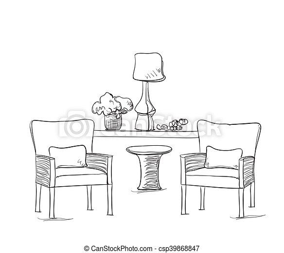 Sommer Skizze Cafe Tisch Stuhl Mobel Sommer Sketch