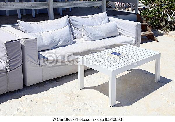 Sommer, sofa, aufenthaltsraum, cluburlaub, terrasse, weißes. Sommer ...