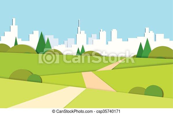 sommer, stadt, modern, grün, straße, tal, landschaftsbild, ansicht - csp35740171
