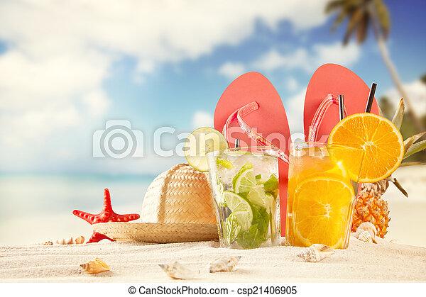 Rask Sommer, strand, tilbehør, drinks. Sommer, drinks, strand, hav skal. QW-42