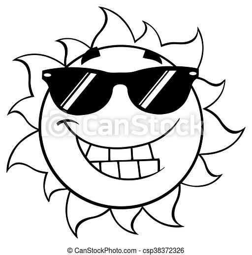 Schwarze und weiß lächelnde Sommersonne - csp38372326