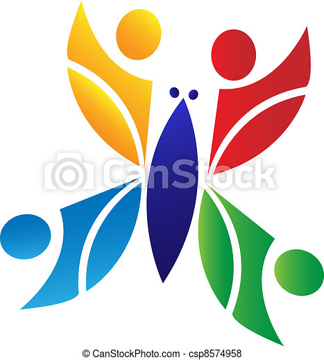 sommerfugl, logo, teamwork - csp8574958