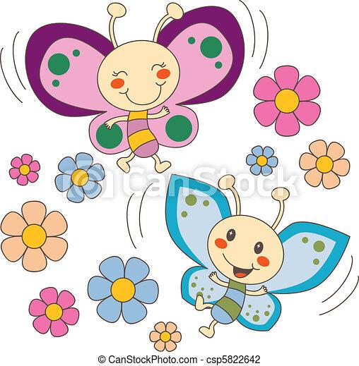 sommerfugle, blomster, constitutions - csp5822642