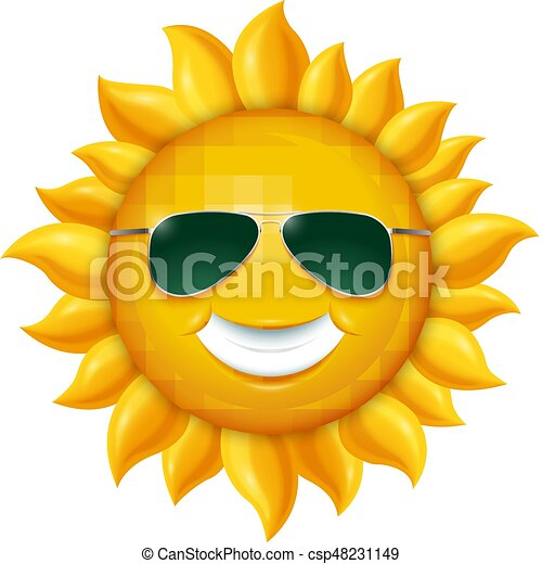 Lächelnde Sommersonne in Sonnenbrille. Vector Illustration isoliert auf weißem Hintergrund - csp48231149