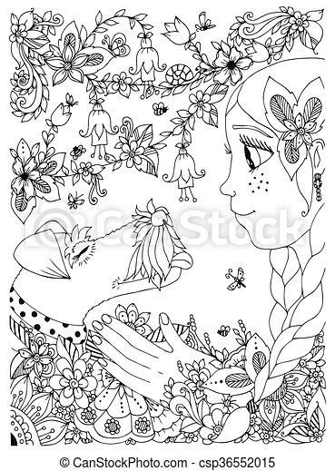 Sommersprossen, umarmen, anti, m�dchen, garden., färbung ...