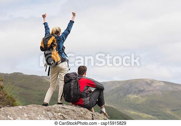 sommet, atteindre, couple, excité - csp15915829