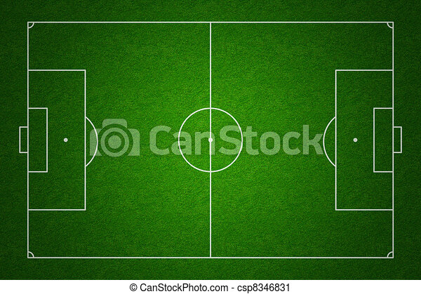 sommet, football, s'accorder, normes, champ, marquages, pas, propre, football, ou, proportions, vue - csp8346831