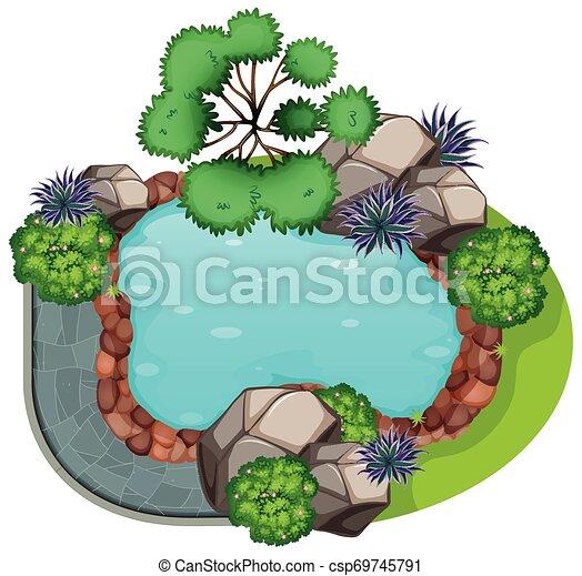sommet, jardin, vue - csp69745791