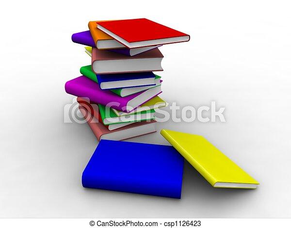 sommet, livres, empilé, 3d - csp1126423