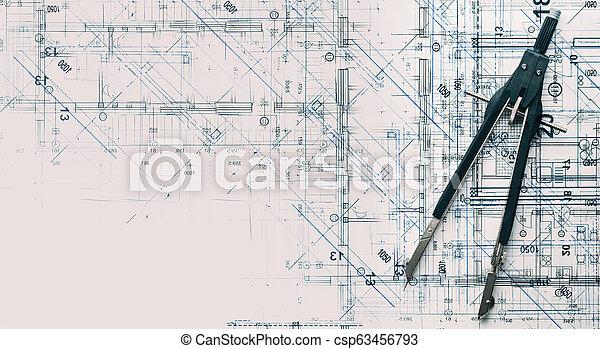 sommet, moderne, conception projet, architectural, nouveau, home., vue - csp63456793