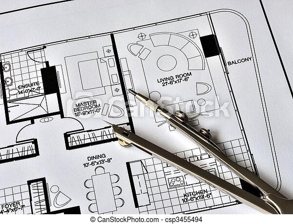 sommet, résidence, compas, floorplan - csp3455494