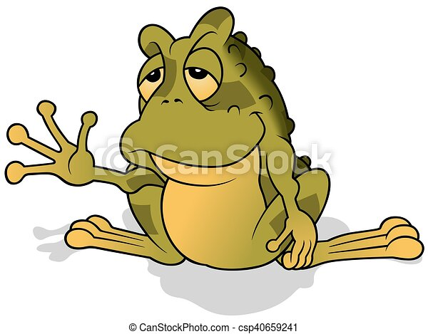 Somnolent Grenouille Verte Colore Illustration Somnolent