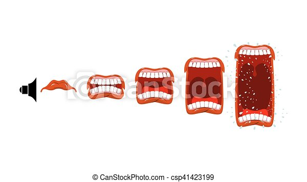 son, volume, changements, level., lstage, cry., bouche, scream., hurlement, ouvert, langue, teeth. - csp41423199