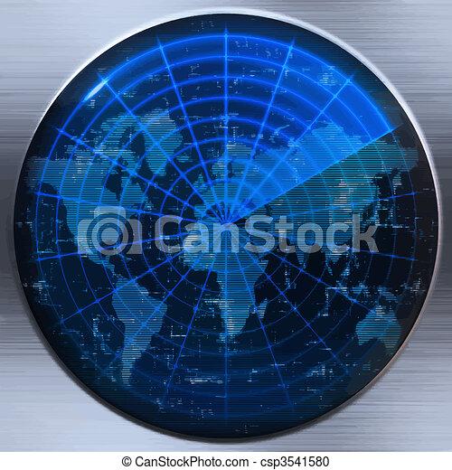 sonar, världen kartlägger, eller, radar - csp3541580