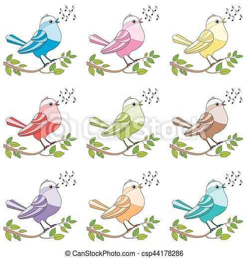 Songbirds Colorful Singing Birds - csp44178286