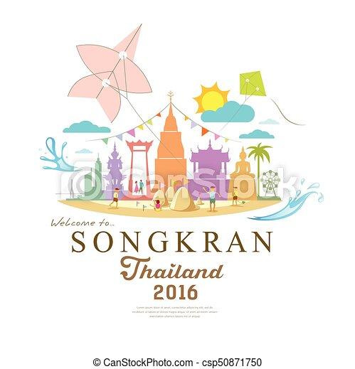 Songkran Festival Period of April - csp50871750