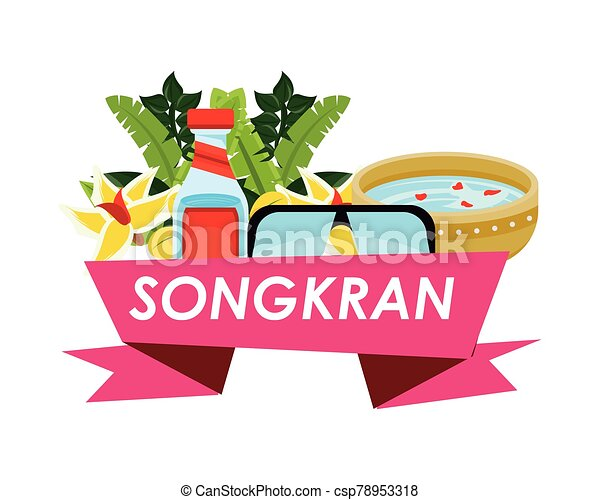 songkran festival ribbon with set icons - csp78953318