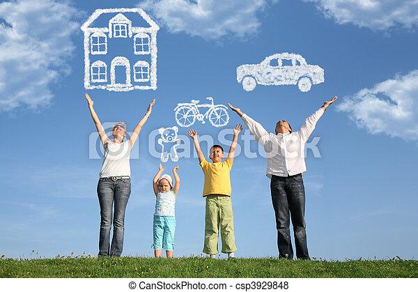 sonho, família, colagem, cima, quatro mãos, capim - csp3929848