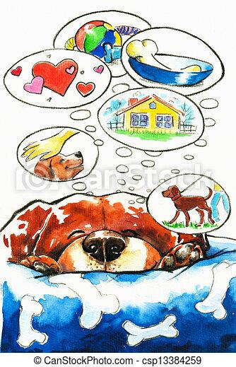 sonhos, cão - csp13384259