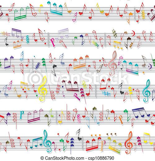 Una nota de corazón musical suena textura de amor - csp10886790