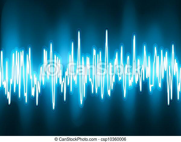 Ondas de sonido oscilando luz brillante. EPS 8 - csp10360006