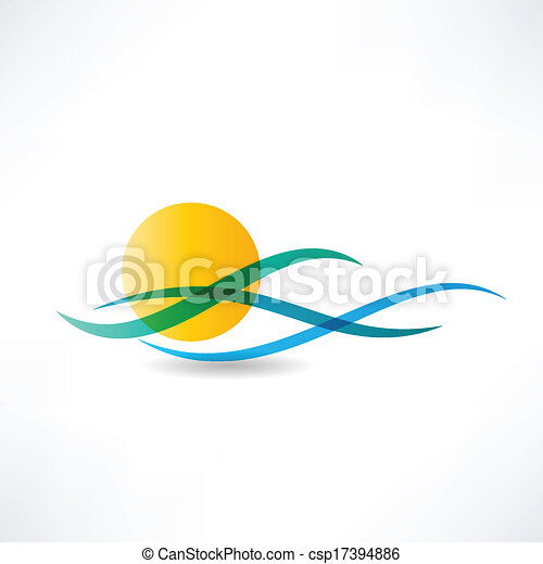 sonne, abstractly, meer, ikone - csp17394886