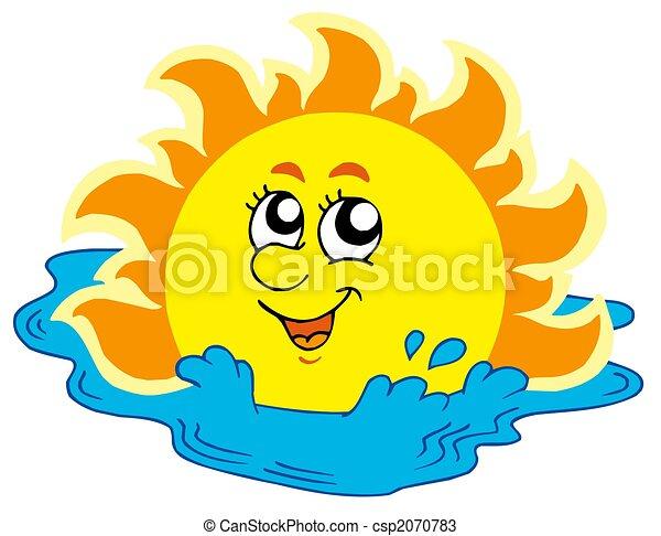 Sonne baden karikatur meer baden illustration sonne for Clipart mare