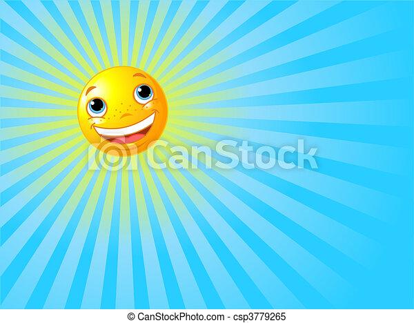 sonne, lächeln glücklich, hintergrund, sommer - csp3779265