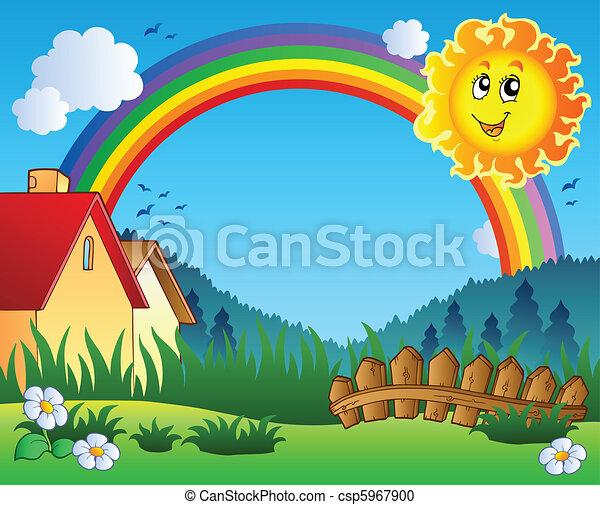 sonne, landschaftsbild, regenbogen - csp5967900