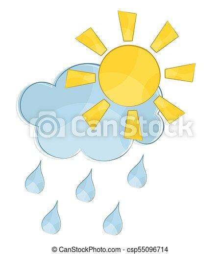 Wolken mit Sonne und Regen. - csp55096714
