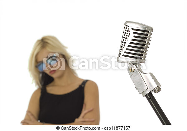 sonne, s�nger, brille, mikrophon, retro - csp11877157
