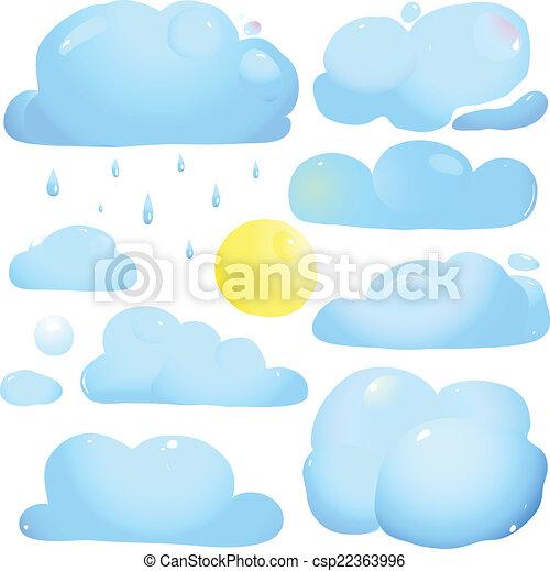 sonne, tropfen, wolkenhimmel, regen - csp22363996