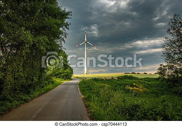 sonne, turbine, erleuchtet, wind - csp70444113