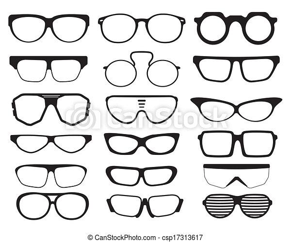 sonnenbrille, silhouetten, brille - csp17313617
