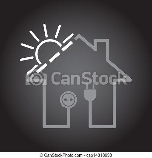 Sonnenkollektoren, Eco, Haus,  , Abbildung, Einfache , Stromkreis,  Elektrizität