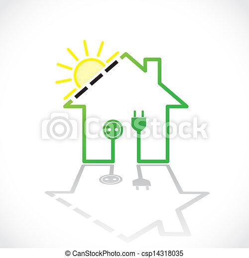 Captivating Sonnenkollektoren, Einfache , Haus,  , Abbildung, Elektrizität, Grün,  Stromkreis