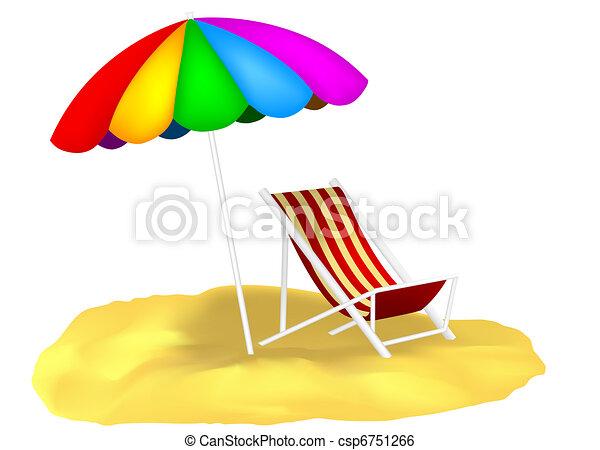 Sonnenschirm strand clipart  Aufenthaltsraum, chaise, sand, sonnenschirm, abbildung.