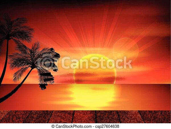 Tropischen · Sonnenuntergang · Paar · Liebe · schauen · Strand -  vektor-grafiken © Bogusław Mazur (Aiel) (#281232)   Stockfresh