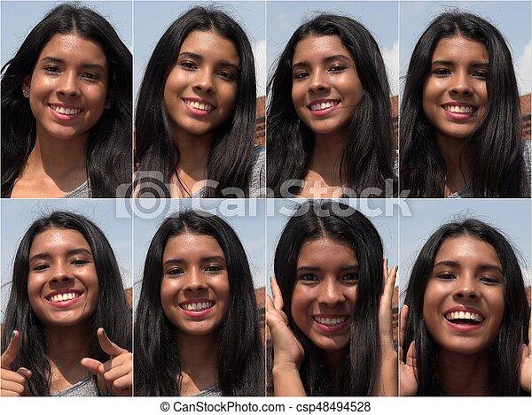Feliz feliz y sonriente collage femenino - csp48494528