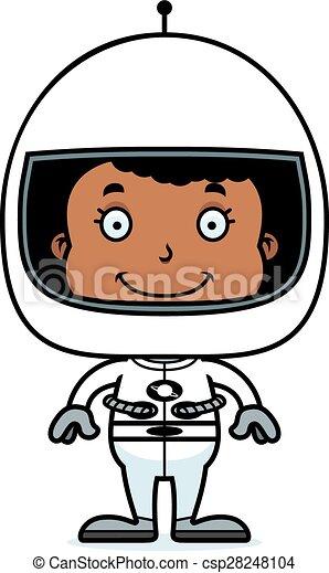 Una chica astronauta sonriente - csp28248104